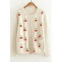 Fashion Cherry Pattern Round Neck Long Sleeve Pocket Cardigan