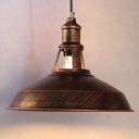 Industrial 15.35''W Barn Pendant Light in Retro Style in Rust