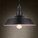 Industrial 18.11''W Barn Pendant Light in Retro Style in Black