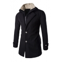 Long Sleeve Notched Lapel Zip Up Buttons Down Plain Winter Coat