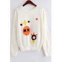 Lovely Cartoon Patchwork Embroidered Long Sleeve Sweater
