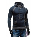 Long Sleeve Contrast Cuffs Color Block Hoodie with Kangaroo Pocket