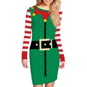 Christmas Santa Belt Printed Color Block Stripes Long Sleeve Mini Bodycon Dress