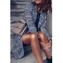 Chic Houndstooth Notch Lapel Long Sleeve Longline Trench Coat