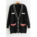 New Stylish Color Block Print V-Neck Long Sleeve Cardigan