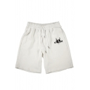 Casual Pit-Bull Dog Applique Drawstring Waistband Jogger Shorts