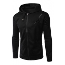 New Stylish Zipper Long Sleeve Simple Plain Leisure Hoodie