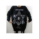 Chic Skull Hexagram Print Round Neck Long Sleeve Pullover Sweatshirt
