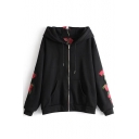 New Fashion Floral Embroidered Zip Placket Long Sleeve Hoodie