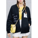 Simple Letter Cartoon Embroidered Stand-up Collar Long Sleeves Zippered Baseball Jacket with Pockets