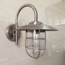 Industrial Wall Light with Glass Shade in Chrome Finish