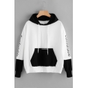 Chic Color Block Letter Print Drawstring Hood Long Sleeve Hoodie