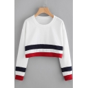 Fashion Color Block Print Long Sleeve Round Neck Cropped Pullover Sweatshirt