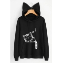 Cute Cat Print Drawstring Hood Long Sleeve Pocket Hoodie