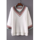 Fashion Color Block Striped V-Neck High Low Hem Pullover Sweater