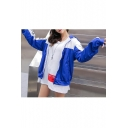 Fashion Color Block Letter Print Long Sleeve Zipper Hooded Coat