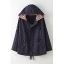 New Fashion Polka Dot Zippered Long Sleeve Hooded Coat
