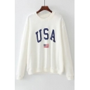 New Trendy Letter Print Round Neck Long Sleeve Pullover Sweatshirt