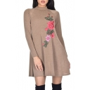 New Fashion Floral Embroidered High Neck Long Sleeve Swing Mini Dress