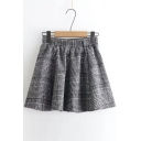 New Stylish Elastic Waist Classic Plaid Pleated Mini Skirt