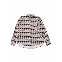 New Fashion Letter Character Print Lapel Long Sleeve Buttons Down Shirt