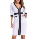 New Stylish Color Block Print V-Neck 3/4 Length Sleeve Zipper Dress