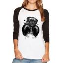 New Fashion Boxing Dog Print Long Sleeve T-Shirt