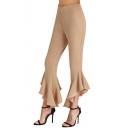 Chic Simple Plain Ruffle Hem High Waist Capri Pants