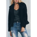 Chic Long Sleeve Notched Lapel Open Front Plain Faux Fur Coat