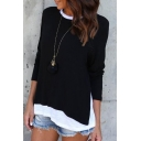Contrast Round Neck Long Sleeve Side-Split Patchwork Loose Tiered Tee