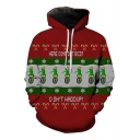 New Leisure Christmas Frog Print Long Sleeve Hoodie