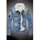 New Stylish Print Long Sleeve Single Breasted Denim Jacket