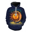 Fashionable Totem Sun Moon Printed Long Sleeve Pullover Hoodie with Pocket