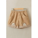 Lovely Bear Embroidered Elastc Waist Shorts