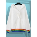 New Stylish Color Block Striped Hem Long Sleeve Lace-Up Hooded Sweater