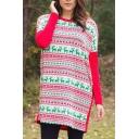 Color Block Christmas Print Round Neck Long Sleeve Shift Mini Dress