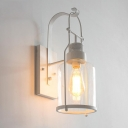 Industrial Wall Light in Nautical Style with Bottle Shade in White Finish