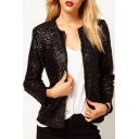 Fashionable Collarless Concealed-Button-Down Long Sleeves Sequined Jacket