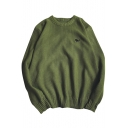 Simple Embroidery Long Sleeves Round Neck Ribbed Pullover Sweater