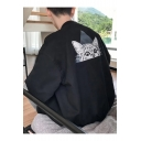 Fashion Cat Print Stand-Up Collar Long Sleeve Zip Up Baseball Jacket