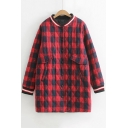 Leisure Plaid Stand-Up Collar Long Sleeve Buttons Down Coat