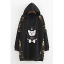 Over-Sized Long Sleeves Camouflaged Patchwork Bear Embroidered Pullover Hooded Mini Dress