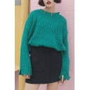New Fashion Simple Round Neck Long Sleeve Loose Sweater
