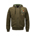 New Fashion Badge Embroidered Hooded Zippered Long Sleeve Baseball Coat