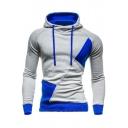 Fashion Color Block Print Drawstring Hood Raglan Sleeve Unisex Hoodie