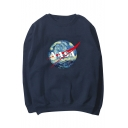 New Fashion Letter Graphic Print Round Neck Long Sleeve Sweatshirt