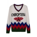 New Fashion Letter Butterfly Pattern V-Neck Long Sleeve Pullover Sweater