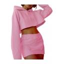 Simple Plain Long Sleeve Cropped Hoodie with Elastic Waist Mini Skirt