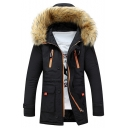 New Stylish Faux Fur Hood Long Sleeve Zip Up Flap Pocket Plain Coat