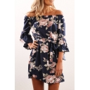Fashion Floral Print Off Shoulder Ruffle Cuff Mini A-Line Dress